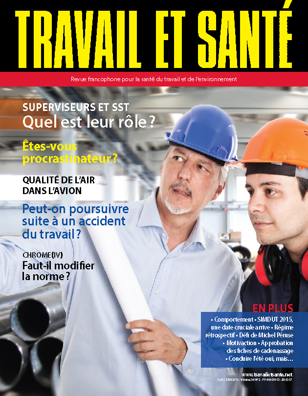 Revue Travail et santé : volume 34, numéro 2 - Juin 2018 - Page couverture